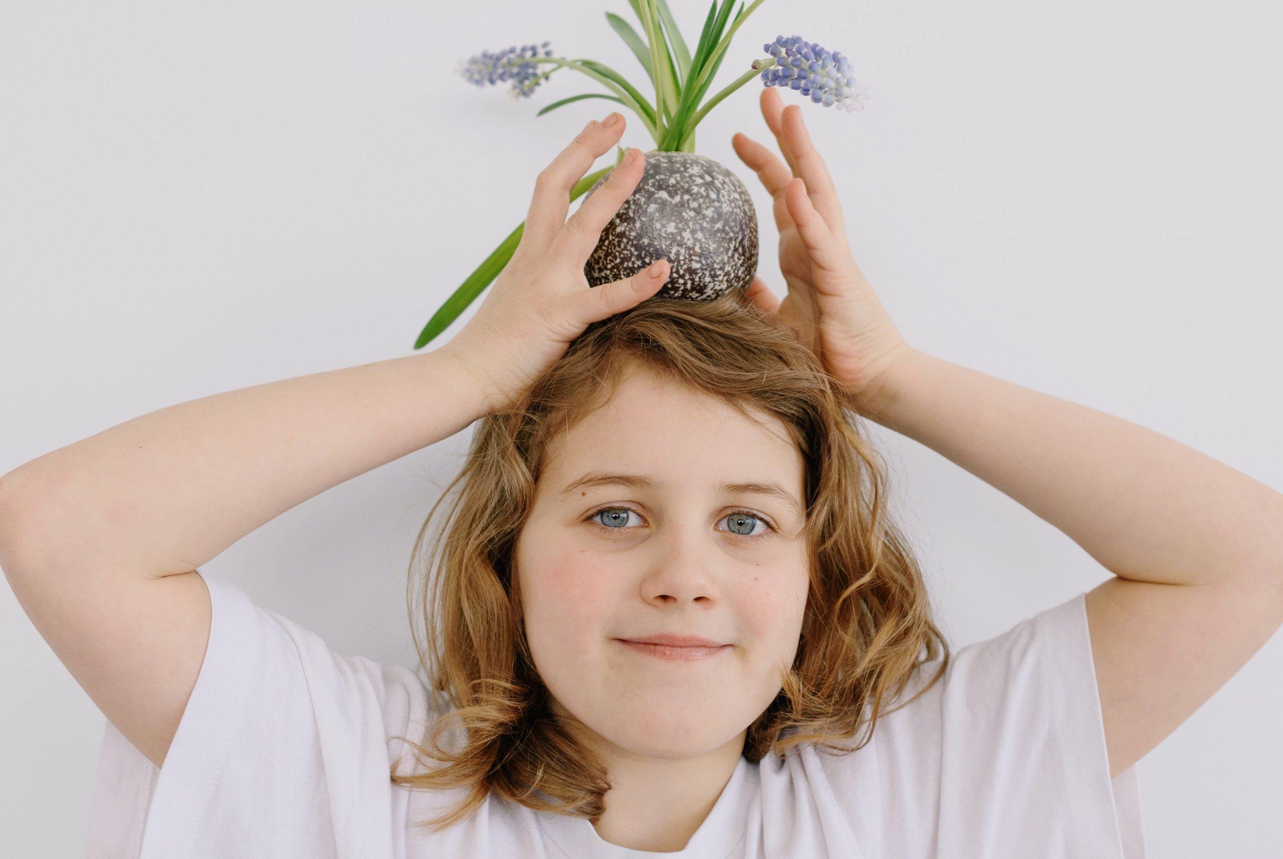 flowerpot on head